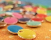 25 - 12mm  Colorful Dot Drops - Handmade Jump Rings Included - 100% Guarantee