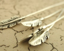 2 Sterling Silver Feather Head Pins - South West Style - 20 gauge 2 1/4 inches - 100 Guarantee