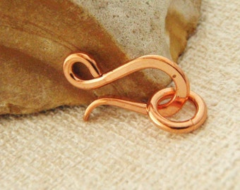 1 Solid Copper Clasp - Hand Forged - 17mm X 9mm - Jump Ring Included