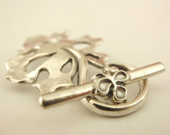 1 Oversized Stunning Leaf Toggle Clasp - Sterling Silver - Shiny or Antique - 32mm X 22mm - Best Commercially Made - 100% Guarantee