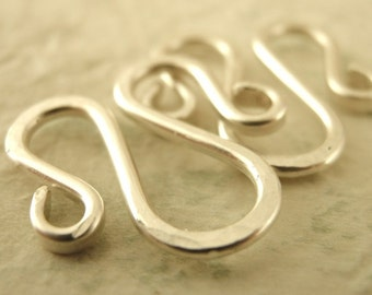 1 Hammered M Clasp, Bail or Embellishment 17mm X 17mm - Sterling Silver, 14kt Gold Filled