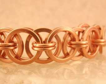 Square Helm Bracelet Kit - Copper Chainmaille - Perfect for Beginners but Fun for More Experienced Jewelry Makers
