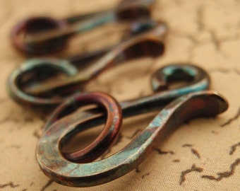 1 Handmade Oxidized Sterling Silver Hook Clasps 14 gauge With 6mm Jump Rings 17mm X 9mm
