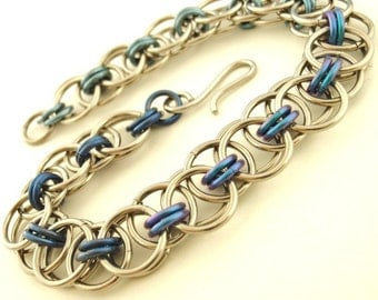 Chainmail Bracelet Kit - Stainless Steel and Niobium Parallel Chain or Helm Weave - Intermediate