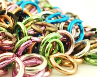 You PICK - 100 Aluminum Jump Rings 12 gauge 12mm OD Economical - 14 Colors