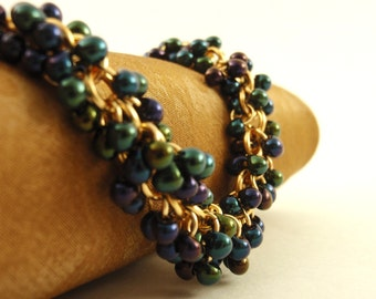 Gold Shaggy Beaded Bracelet Kit Features Metallic Dark Blue Iris Glass Miyuki Fringe Beads - Beginners or More Advanced - Sparkly Chainmail