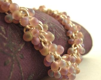 Shaggy Beaded Bracelet Kit - Matte Smoky Amethyst AB Miyuki Glass Fringe Beads with Silver