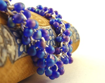 Shaggy Beaded Bracelet Kit - Matte Cobalt and Silver - Beginners or More Advanced - Simply Splendid Chainmaille