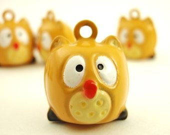 6 Whimsical Wise Old Owl Bells 17mm - Yellow Tan Tone - Jump Rings Included