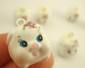 6 Plump Piggy Bells 17mm - White Pigs with Pink Rhinestone Flowers - Matching Jump Rings Included