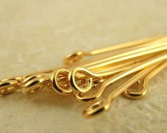 100 Gold Plated Eye Pins - Economical - 21 Gauge You Pick Length