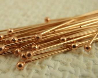 50 Solid Bronze Stunning Ball Head Pins - 24 gauge - 1 1/4 inch long - Raw or Oxidized - 100% Guarantee