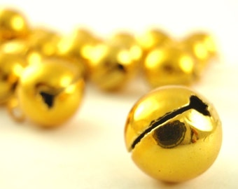 25 Shiny Gold Bells 12mm - These Make NOiSe