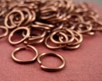 100 Handcrafted Antique Copper Jump Rings in 16, 18, 20, 22 or 24 gauge YOU PICK the Diameter - 100% Guarantee