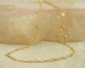 14kt Gold Filled Chain - Fine Flat Cable - 1.4mm - By the Foot or Finished Chain  Made in the USA