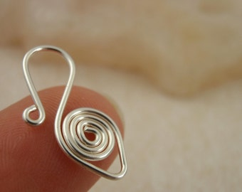 2 Clasps -  20mm X 10mm Hand Wrapped Silver Plated Wire Hook Style with Jump Rings - Non Tarnish