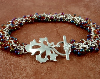 Shaggy Sterling Silver Beaded Bracelet in Autumn Hues - Beginners or More Advanced - Stylish Chainmaille Kit or Ready Made