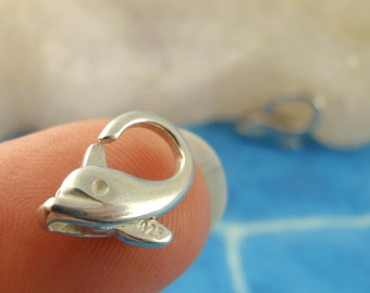 1 Sterling Silver Dolphin Lobster Clasp - 13mm X 9mm - Shiny or Antique - Looks And Works Great - Best Commercially Made - 100% Guarantee