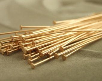 100 Solid Bronze Stunning Flat Head Pins - 23 gauge - 2 inches 5 cm - Raw or Oxidized - Made in the USA