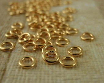 100 Soldered Closed Gold Plated Jump Rings - Best Commercially Made - 20 gauge 4mm OD, 18 gauge 6mm, 8mm or 10m OD - 100% Guarantee