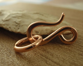 1 Copper Clasp - Large Handmade Hand Forged Raw Copper Hook Style With Jump Ring  - 21mm X 12mm