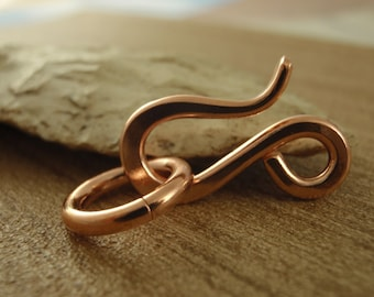 LARGE Copper Clasps - Handmade Hand Forged Raw Copper Hook Style With Jump Rings Quantity 3 - 21mm X 12mm