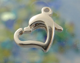 1 - Sterling Silver Sweet Heart Lobster Clasps - Shiny Or Antiqued - Looks & Works Great -  11mm X 8mm - 100%Guarantee
