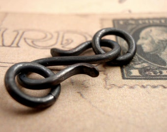 3 Oxidized Copper S Clasps - Hand Forged - 20mm X 10mm - 6 Jump Rings Included