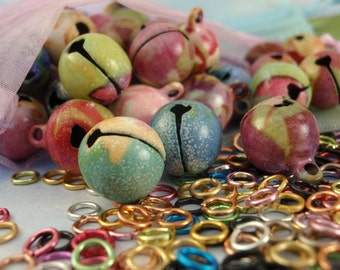 50 Premium Bells with Floral Pattern 12mm Plus Optional Jump Rings -These Make Noise
