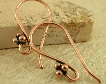 4 Pairs Copper Ear Wires - 4 Ball Accent