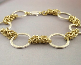 Economical Brass and Hammered Silver Bracelet Kit - Byzantine Chainmail - Perfect Starter Kit