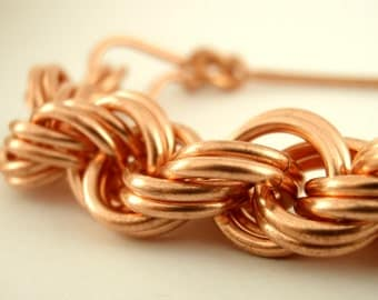 Solid Copper Double Spiral Bracelet Kit - 14 gauge - Perfect for Intermediates Chainmaille - Unique Clasp Included