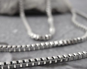 1 - 17 inch 1.5mm Stainless Steel Box Chain