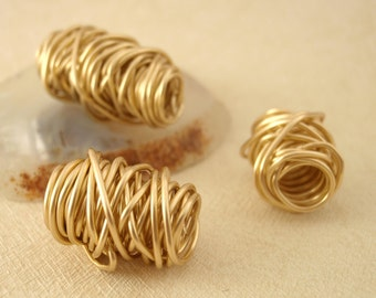 1 - Artisan Made Tangled Bead - Your Choice of Metals - Brass, Bronze, Copper, Stainless Steel, Black Iron