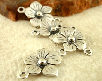 2  Five Petal Flower Links - Antique Sterling Silver - 11mm - 100% Guarantee