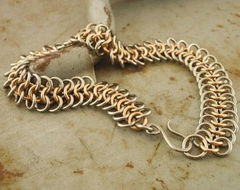 EASY Stainless Steel and Bronze Chainmaille Bracelet Kit or Ready Made - European 4 In 1