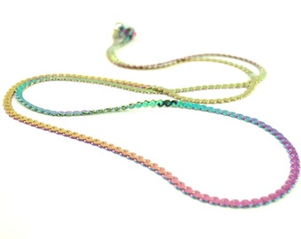 1 - 1.2mm Rainbow Anodized Stainless Steel Infinity Link Chains 18 inches