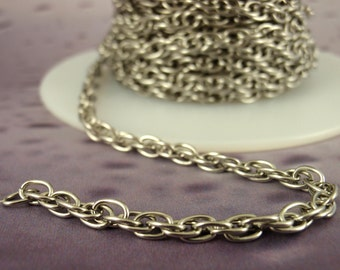 3.4mm Stainless Steel Double Spiral Rope Chain - Ready Made or By the Foot - Made in the USA