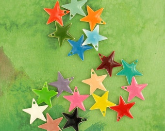 25 - 12mm  Colorful Star Drops - Handcrafted Jump Rings Included - 100% Guaranttee