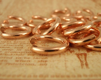 50 Solid Copper Jump Rings 10 gauge 7mm ID - Saw Cut - Chunky Connectors