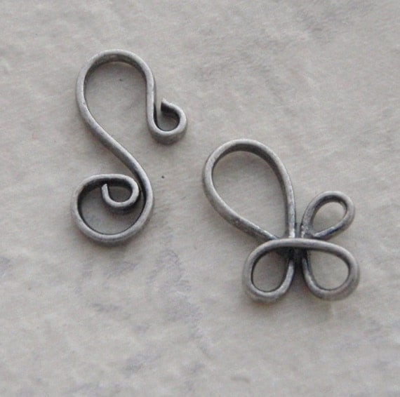 10 Antique Silver Plated Clasps - Hook and Eye 22 gauge 8.5 mm
