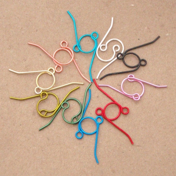 Half Price Sale My Pick of Colors - 50 Pairs Simple Colorful Custom Handmade Ear Wires in Non Tarnishing Enameled Coated Copper