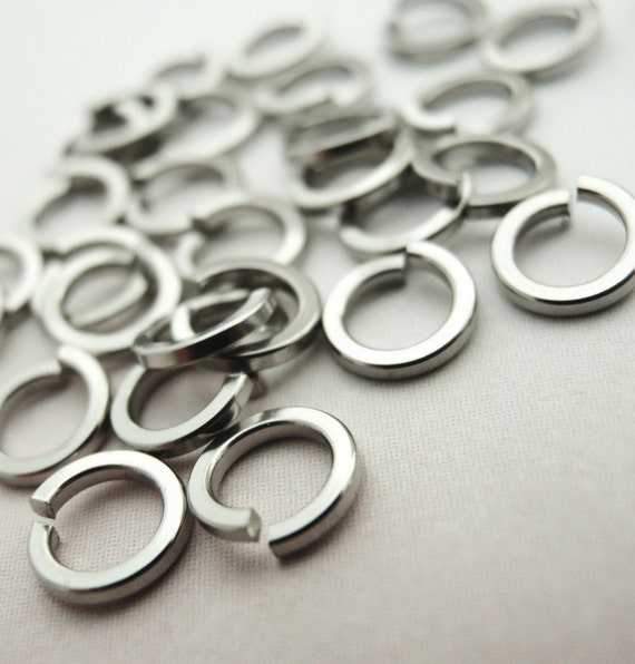 RESERVED 50 Square Wire On EDGE Stainless Steel Jump Rings - 316L -Top Shelf Stainless Steel - 18 gauge 4.25mm ID