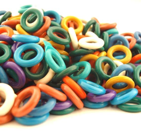 Winter SALE - 300 Oh Ring Colorful Sampler - Rubber Jump Rings 12 gauge 10mm OD