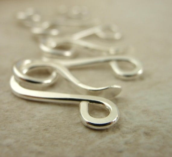 Half Price Sale 1 Custom Hand Forged Argentium Sterling Silver Clasps 17mm X 7mm With Jump Rings 16 gauge
