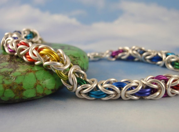 Silver Rainbow Byzantine Bracelet Kit - Custom Chainmaille - 10 Colors