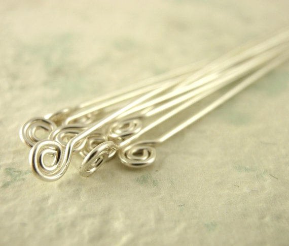 Half Price Summer Sale  5 Argentium Sterling Silver Swirly Head Pins 2 inches 22 gauge - Hand Crafted