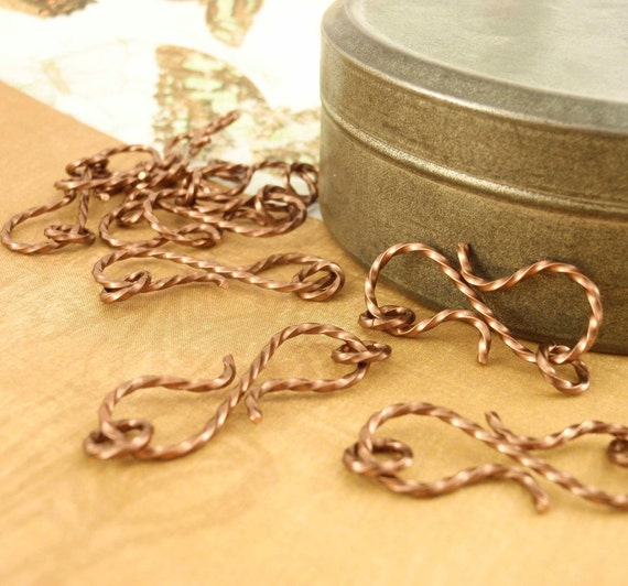 1 Fancy Twisted S Clasp - Handmade - 20mm X 10mm - Antique Copper or You Pick Metal - Jump Rings Included