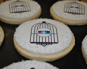 Lovebird Hand Decorated Sugar Wedding Cookie Favors