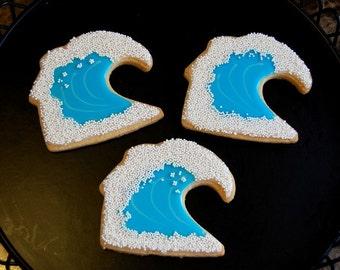 Wave Hand Decorated Iced Sugar Cookies - 1 Dozen